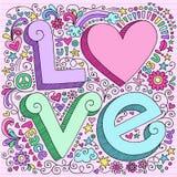 Нарисованный вручную элементы Doodle тетради влюбленности иллюстрация штока