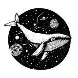 Нарисованный вручную Doodle кита летает в космос Иллюстрация вектора - запас иллюстрация вектора