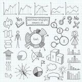 Нарисованный вручную infographic комплект элемента Стоковое Изображение
