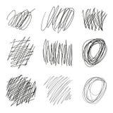 Нарисованный комплект вектора запутывает, линии, круги, эскиз Doodle многоточий Черная линия форма scribble конспекта вектор иллюстрация вектора