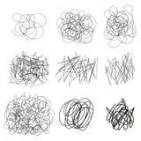 Нарисованный комплект вектора запутывает, линии, круги, эскиз Doodle многоточий Черная линия форма scribble конспекта вектор EPS иллюстрация вектора