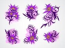 Нарисованный комплект вектора руки цветет, разветвляет и выходит с текстурированным элементом акварели Стоковое Изображение RF