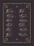 Нарисованный комплект руки помечающ буквами все месяцы года Элегантная современная рукописная каллиграфия Иллюстрация чернил вект Стоковое Изображение RF