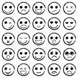 Нарисованный комплект руки смайликов Значки emoji собрания Стоковые Фотографии RF