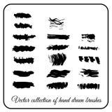 Нарисованный комплект руки чистит тушь щеткой влияния черную Стоковые Фото