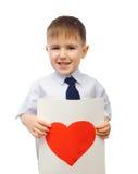 нарисованный мальчиком обнимать сердца Стоковые Фото