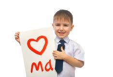 нарисованный мальчиком обнимать сердца Стоковая Фотография RF