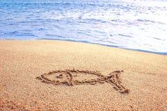 нарисованный пляжем знак рыб o Стоковые Изображения