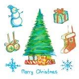 нарисованный рождеством комплект руки Стоковая Фотография