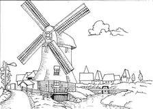Нарисованный рукой ландшафт голландца с мельницей Стоковое Фото