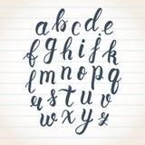 Нарисованный рукой латинский сценарий щетки каллиграфии строчных букв Каллиграфический алфавит вектор иллюстрация штока
