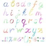 Нарисованный рукой алфавит акварели Стоковые Изображения RF
