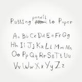 Нарисованный рукой алфавит вектора Стоковое Изображение RF