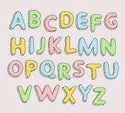 Нарисованный рукой алфавит младенца письма Стоковое фото RF