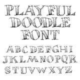 Нарисованный рукой алфавит эскиза Стоковые Изображения