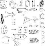 Нарисованный рукой вектор стрелки Стоковое Фото