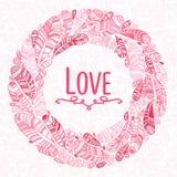 Нарисованный рукой венок пер с спасением тип дизайн даты Красивое Valentine& x27; карточка влюбленности дня s Стоковая Фотография