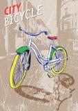 Нарисованный рукой велосипед города цвета в старинной улице также вектор иллюстрации притяжки corel иллюстрация штока