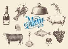 Нарисованный рукой винтажный комплект эскиза еды и пить для меню Стоковое фото RF