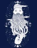 Нарисованный рукой винтажный портрет бороды матроса битника Старый моряк tatoo Человек идеальное искусство для печати, книжка-рас иллюстрация штока