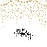 Нарисованный рукой воздушный шар золота doodle Каллиграфия нарисованная рукой с днем рождения помечая буквами конструируйте поздр Стоковое Изображение RF