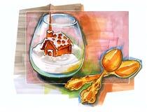 Нарисованный рукой десерт зимы Стоковые Фото