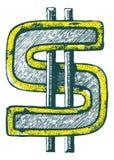 Нарисованный рукой значок символа доллара Стоковое Фото