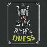 Нарисованный рукой дизайн платья оформления с положительной цитатой Вектор i Стоковые Изображения