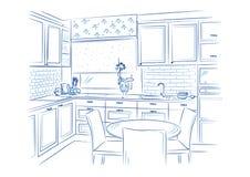 Нарисованный рукой дизайн эскиза кухни внутренний также вектор иллюстрации притяжки corel Стоковая Фотография