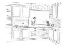 Нарисованный рукой интерьер кухни также вектор иллюстрации притяжки corel Стоковое фото RF