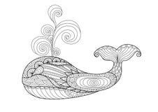 Нарисованный рукой кит zentangle иллюстрация вектора
