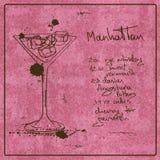 Нарисованный рукой коктеиль Манхаттана Стоковая Фотография RF