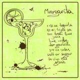Нарисованный рукой коктеиль Маргариты Стоковая Фотография RF