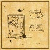 Нарисованный рукой коктеиль шотландского и соды Стоковые Изображения RF