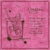 Нарисованный рукой коктеиль Negroni Стоковые Фотографии RF
