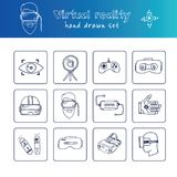 Нарисованный рукой комплект виртуальной реальности doodle