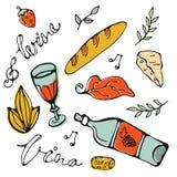 Нарисованный рукой комплект еды Стоковые Фото