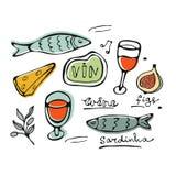 Нарисованный рукой комплект еды Стоковое Изображение