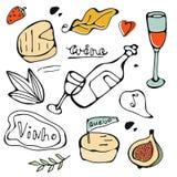 Нарисованный рукой комплект еды Стоковое фото RF