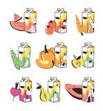 Нарисованный рукой комплект лета плодоовощей, овощи и сок пакуют Vector художнический арбуз иллюстрации, томат, морковь Стоковые Изображения