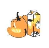 Нарисованный рукой комплект лета тыквы и сок пакуют Пить и овощ иллюстрации вектора художнические Стоковые Фото