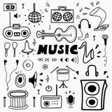 Нарисованный рукой комплект музыки Doodle иллюстрация штока