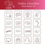Нарисованный рукой комплект образования doodle онлайн