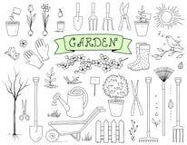Нарисованный рукой комплект садовых инструментов Стоковое Изображение RF