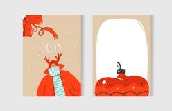 Нарисованный рукой комплект собрания карточек шаржа времени потехи конспекта вектора с Рождеством Христовым при милые иллюстрации Стоковые Фото