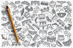 Нарисованный рукой комплект doodle вектора крон Стоковое Изображение RF