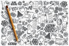 Нарисованный рукой комплект doodle вектора меда иллюстрация вектора