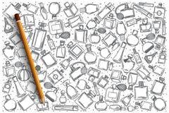 Нарисованный рукой комплект doodle вектора парфюмерии Стоковое Изображение RF