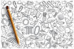 Нарисованный рукой комплект doodle вектора пляжа Стоковая Фотография