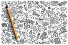 Нарисованный рукой комплект doodle вектора шоколада Стоковая Фотография